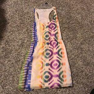 Silk racerback ikat print dress